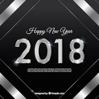 Black new year background with a silver frame