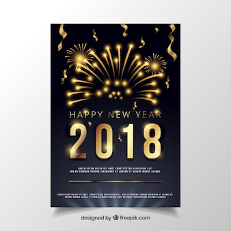 Black new year party poster with golden digits and fireworks Free Vector
