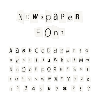 Black newspaper letters font, latin alphabet signs isolated on white