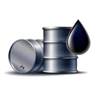 Black oil barrel with oil drop isolated on white realistic objects with shadows. vector illustration