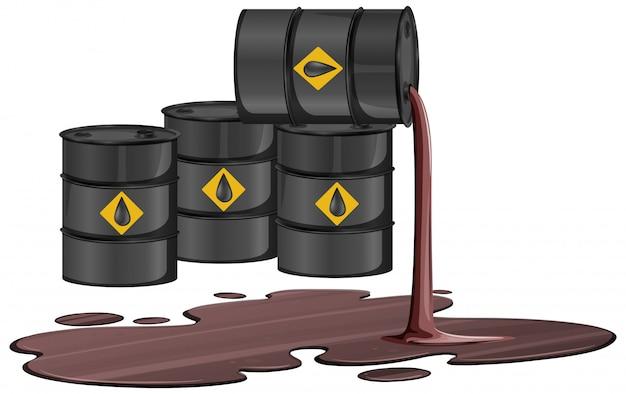原油サインと黒いオイルバレルは、白い背景で隔離の床に油を流出します。