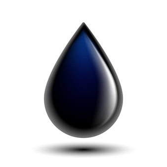 Black oil droplet  on white photo-realistic  illustration