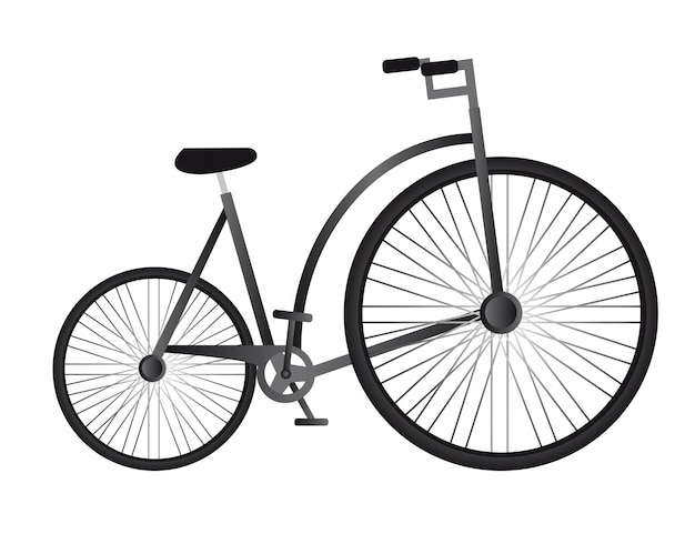 Black old bicycle isolated over white background vector