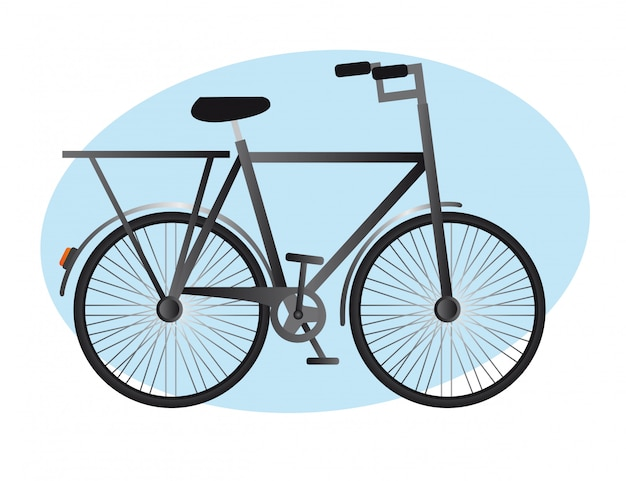 Black old bike over blue circle background vector illustration