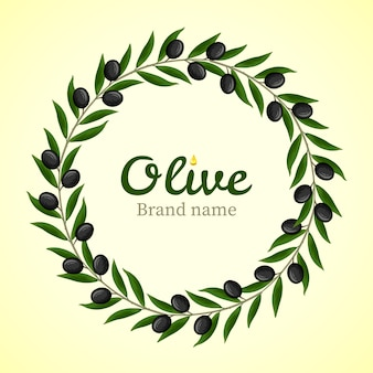Black olive branches wreath logo