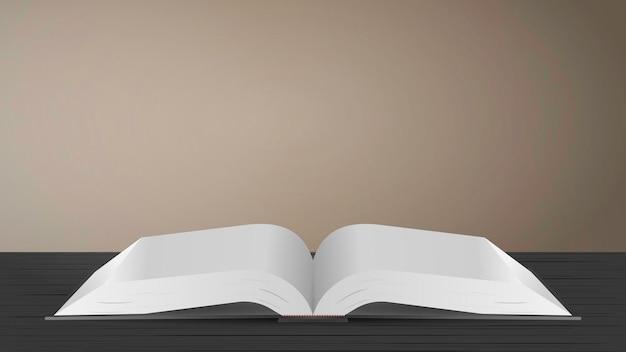 テーブルの上の黒い開いた本。茶色の背景。
