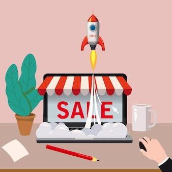 画面を購入した黒のオープン ラップトップ。コンセプト オンライン ショッピング、スター ロケット、マウスを持つ手、オンライン ストア