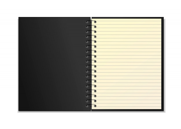 Black open realistic spiral notebook   with yellow line sheet