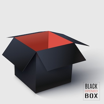 Black opened square box with red inside.