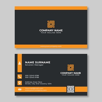 Black and orange business card template