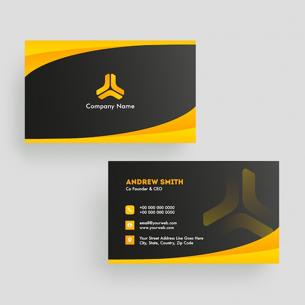 Black and orange color layout business card in front and back view.