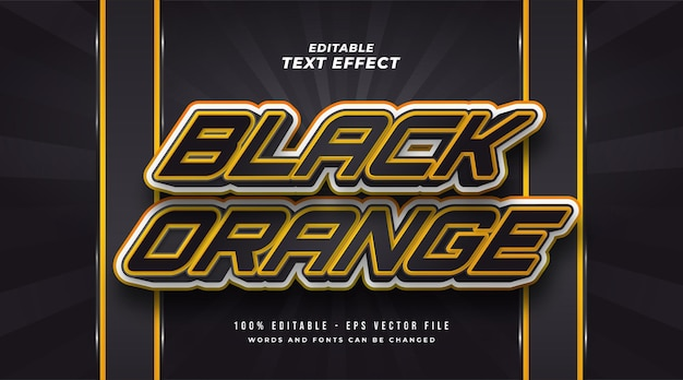 Black and orange editable text style effect