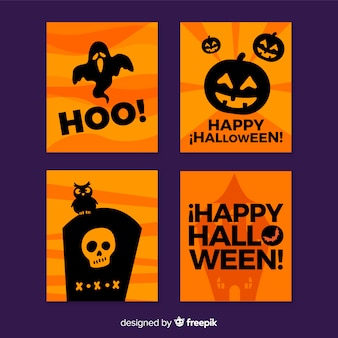 Black and orange halloween colours card collection
