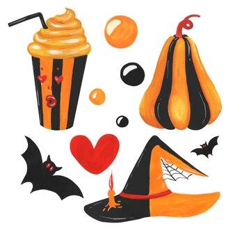 Черный оранжевый акварельный набор объектов хэллоуина на белом фоне