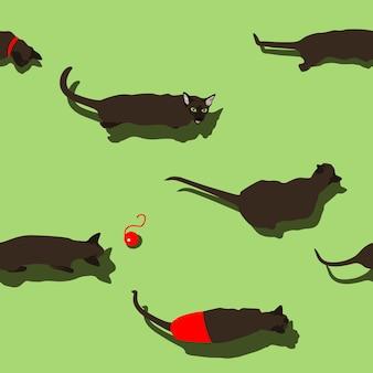緑の背景に黒のオリエンタル猫のシームレスなパターン