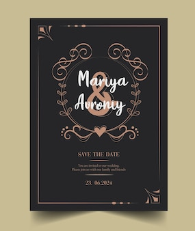 Black ornamental wedding invitation card
