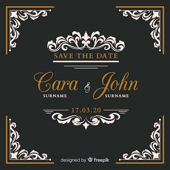 Black ornamental wedding invitation