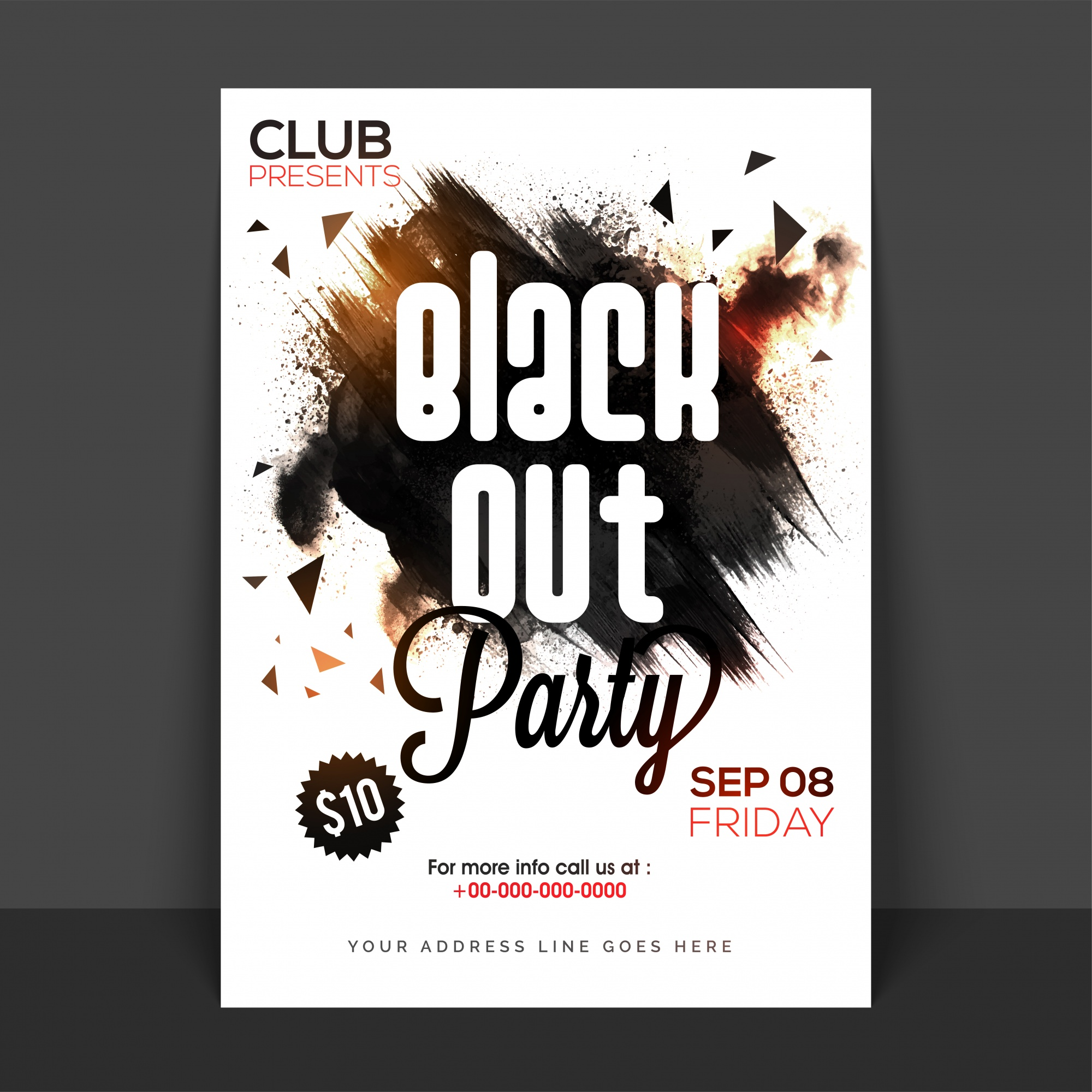 Black Out Party Poster, Banner или Flyer с абстрактными мазками кисти.