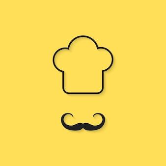 黒のアウトラインシェフアイコン。帽子、レトロなバッジ、趣味、エレガント、衣装、スタンプ、高級料理のコンセプト。黄色の背景に分離。フラットスタイルトレンドモダンシェフロゴデザインベクトルイラスト
