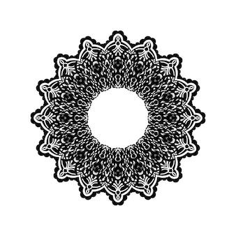Черный контур декоративный круглый узор на белом фоне. дизайн шаблона карты. векторная иллюстрация.