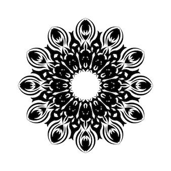 Black outline ornamental round pattern on white background. card template design. vector illustration.