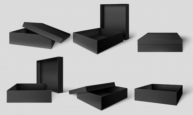 검은 포장 상자. 열리고 닫힌 어두운 상자, 골판지 패키지 모형 템플릿 벡터 일러스트 레이 션 세트