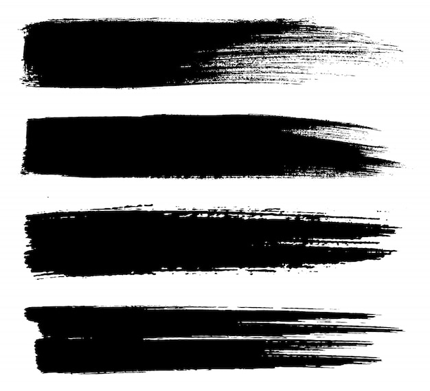 Black paint lines brush strokes
