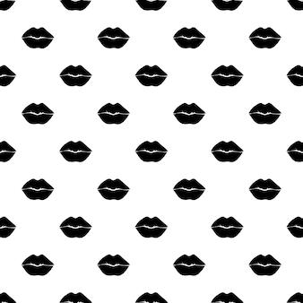 Черная краска губы вектор бесшовные модели. абстрактный рот девушки и женщины. монохромный дизайн обоев, модный текстильный принт.