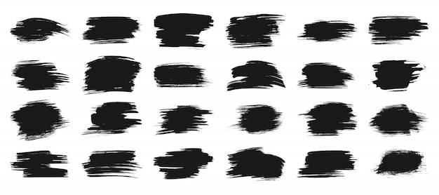 Black paint strokes brush, ink stain banner, box frame for text, watercolor grunge background set.