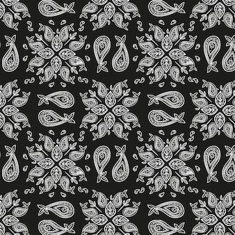 黒ペイズリーバンダナパターン
