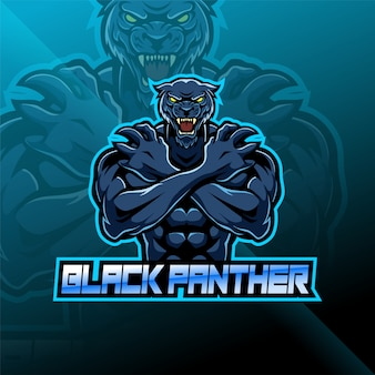Black panther esport mascot logo