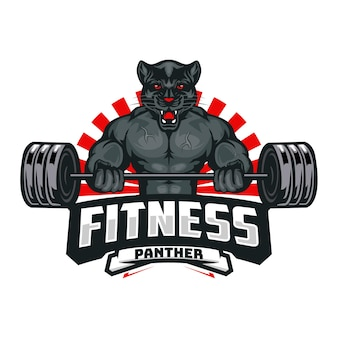Black panther fitness logo template