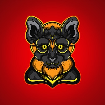 Black panther head gaming mascot logo