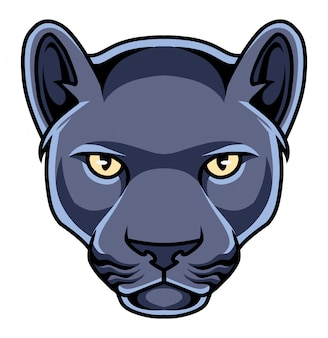 Black panther head mascot logo