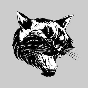 Black panther jaguar face hand drawing illustration vector