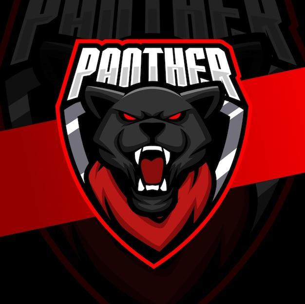 Черная пантера талисман кибер дизайн логотипа