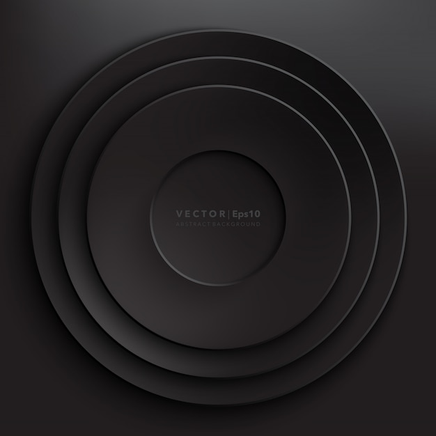 Black paper circles background. round paper frame.