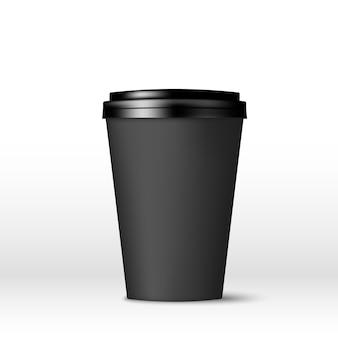 뚜껑이 달린 검은 종이 커피 컵.