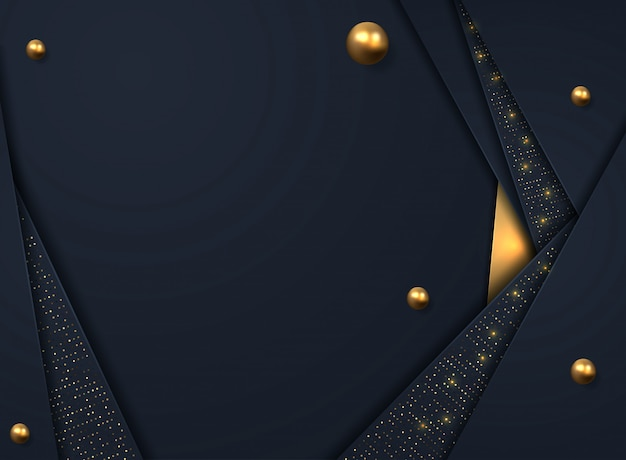 Black paper cut background. abstract realistic layered decoration textured with golden halftone