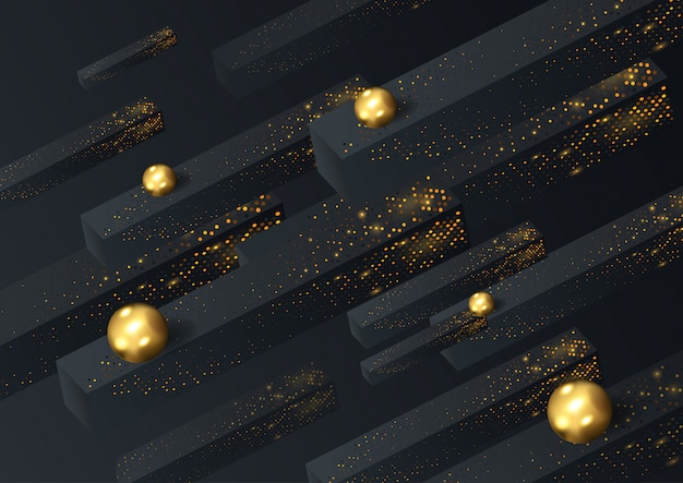 Black paper cut background abstract realistic layered