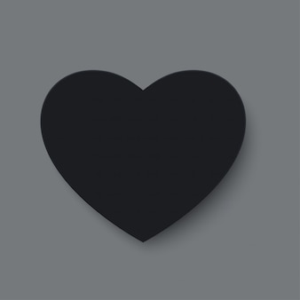 Black paper cut love heart for valentine's day or any other love invitation cards