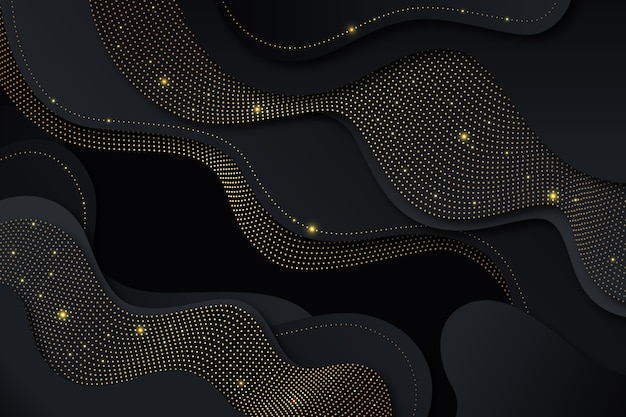 Black paper cut shapes background