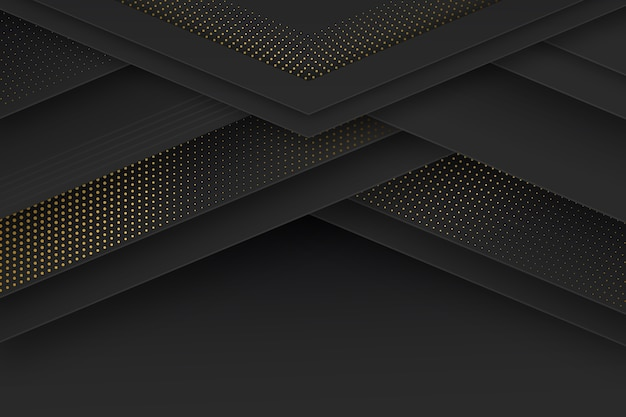 Black paper cut shapes wallpaper with halftone effect