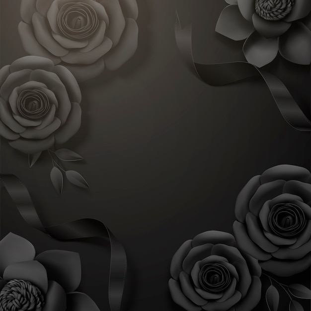 Black paper roses and ribbon frame background in 3d illustration