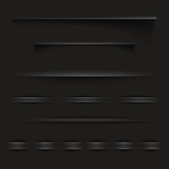 Illustrazione di carta nera ombre o bordi di pagina con effetto texture realistica per sito web