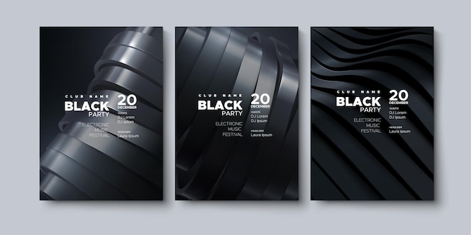 Black party advertising posters template
