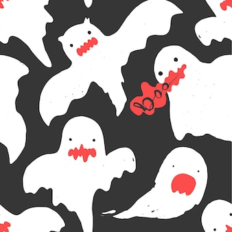 Black pattern with cute white ghosts and boo