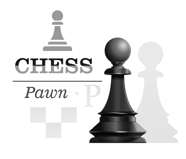 Black pawn on the background of the chessboard silhouette. chess concept design.  illustration