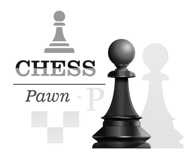 チェス盤のシルエットの背景に黒のポーン。チェスのコンセプトデザイン。図