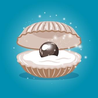 Black pearl in sea shell